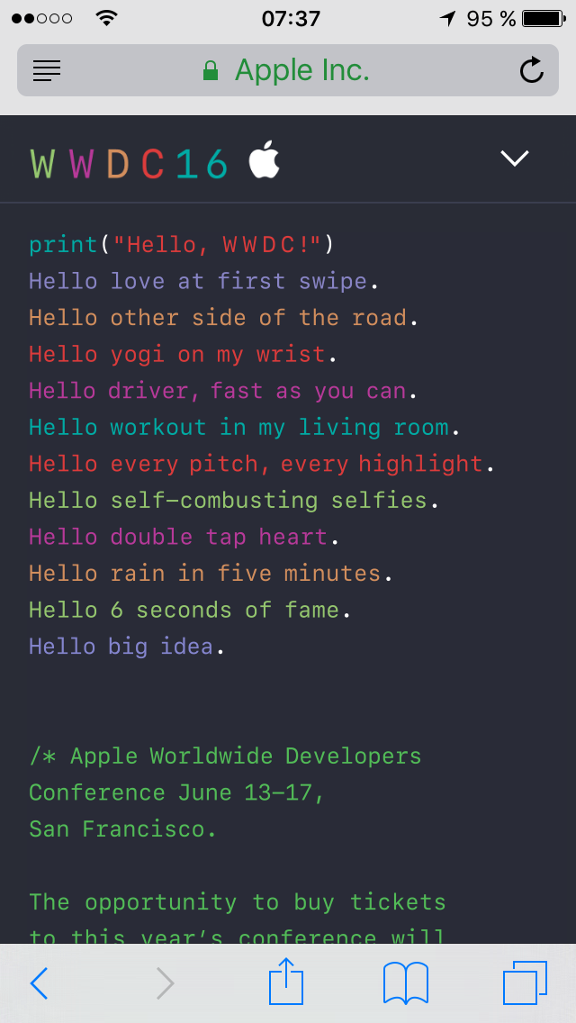 Apple WWDC 2016 Einladung Screenshot