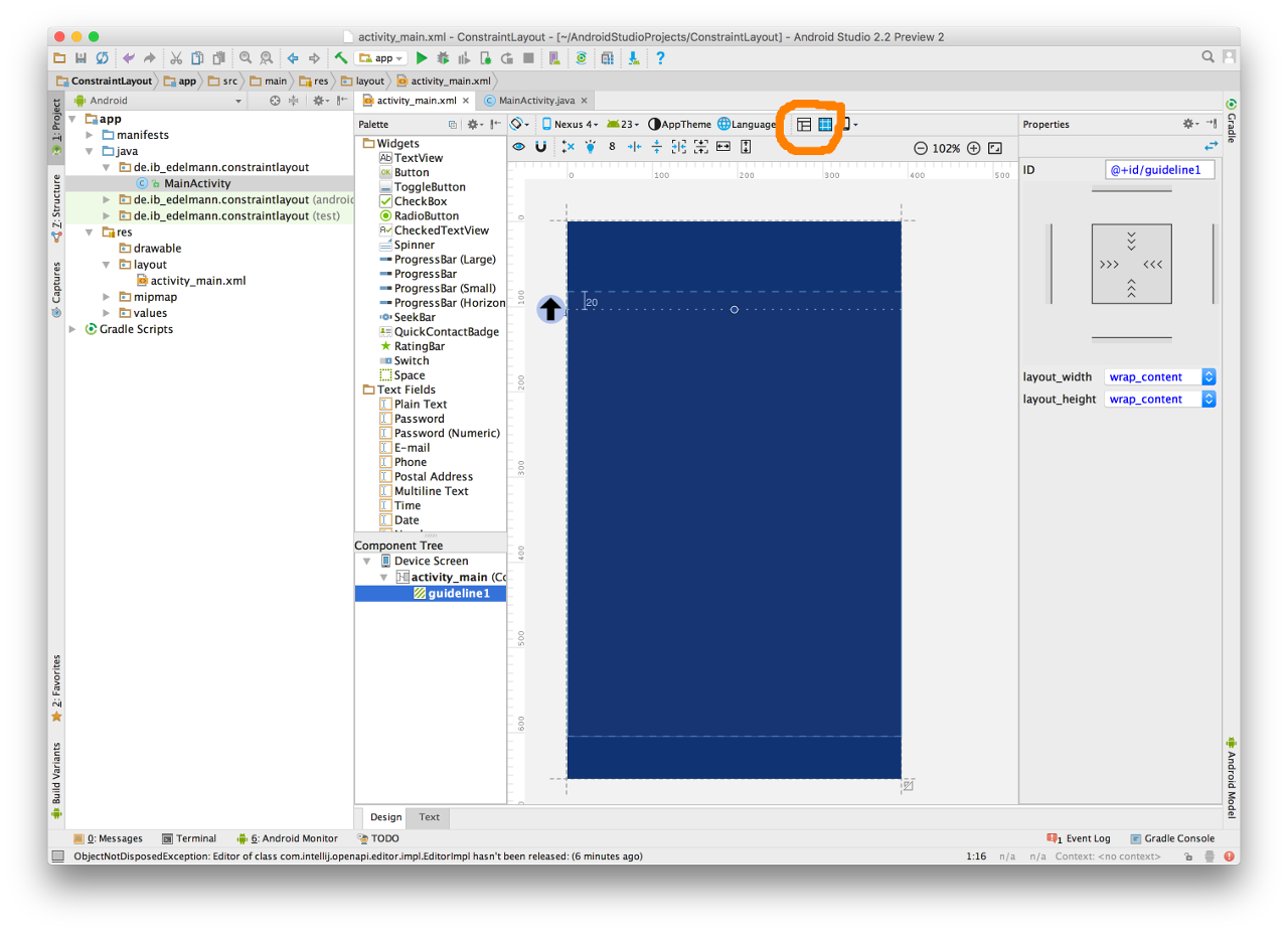 Android Studio Constraint Layout 1