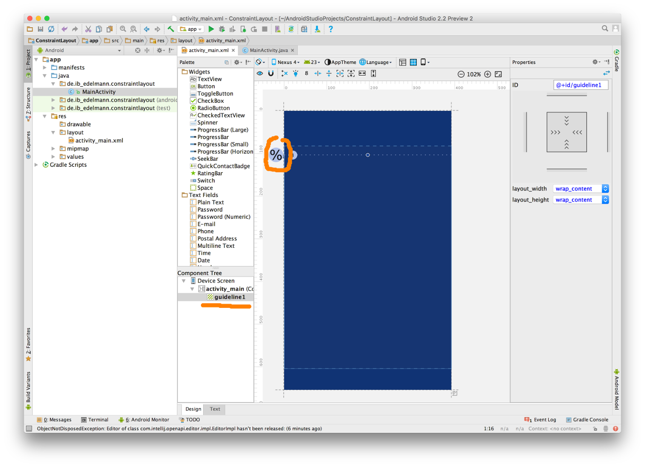 Android Studio Constraint Layout 2