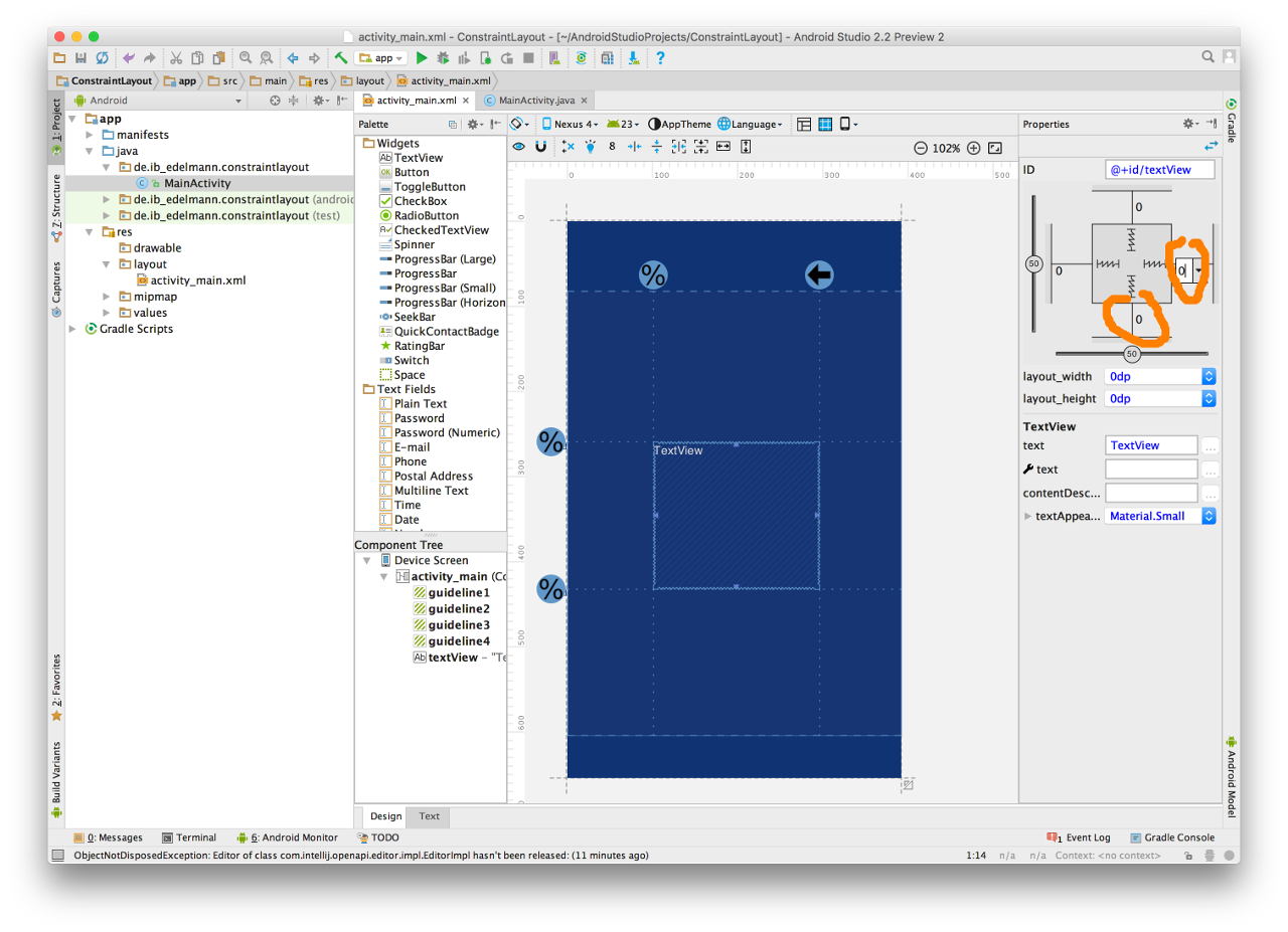 Android Studio Constraint Layout 10